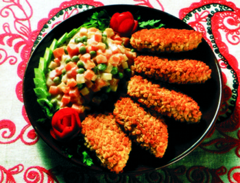 Traditional Russian food - Pozharsky Cutlets and Goose with Apples