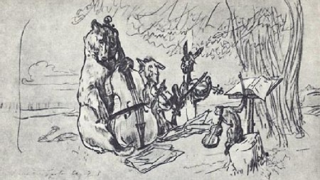 Ivan Krylov's fables, illustration by Serov